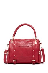 Yoki Side Studded Vegan Leather Satchel Red