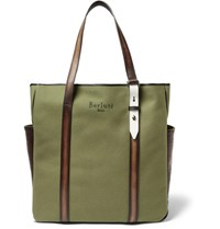 Berluti Chill Out Canvas And Polished Leather Tote Bag Army Green