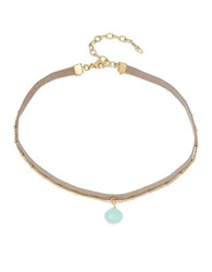 Nadri Leather Choker Layered Crystal Pendant Necklace Blue