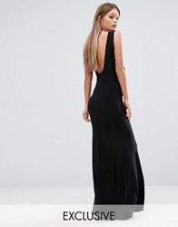 Club L Deep Plunge Back Maxi Dress Black
