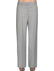 Stella Mccartney Wool Gabardine Straight Leg Pants Grey