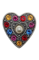 Marc Jacobs Simulated Pearl Pave Heart Brooch Red