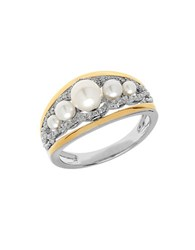 Lord And Taylor Freshwater Pearl 14K Yellow Gold Sterling Silver Ring