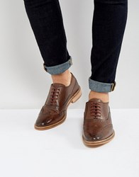 Asos Brogue Shoes In Brown Leather With Natural Sole Brown