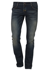Meltin Pot Emory Slim Fit Jeans Paint Drizzle Blue Denim