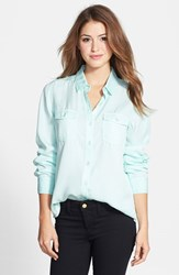 Women's Halogen Long Sleeve Chambray Shirt Teal Fair Aqua