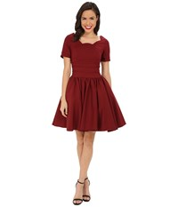 Unique Vintage Sleeved Roman Holiday Dress Merlot Women's Dress Red