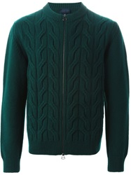 Lanvin Cable Knit Zipped Up Cardigan Green
