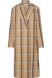 Stella Mccartney Oversized Double Breasted Checked Wool Coat Beige