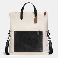 Coach Manhattan Foldover Tote In Mixed Leathers Black Antique Nickel Chalk Black