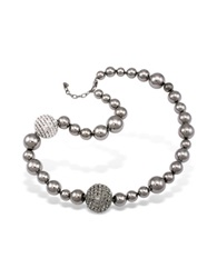 A Z Collection Mirror Polished Ball Necklace Gray