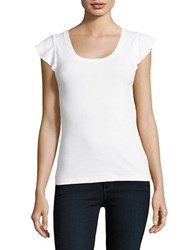 Lord And Taylor Ribbed Flutter Sleeve T Shirt White
