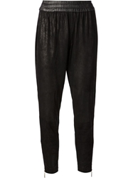 Shakuhachi Cropped Distressed Trousers Black