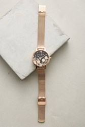 Anthropologie Laced Dial Watch Gold