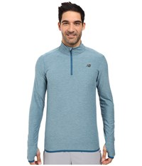 New Balance Space Dye Quarter Zip Riptide Heather Firefly Men's Long Sleeve Pullover Blue