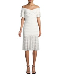 Saylor Stretch Ruffle Lace Midi Dress Ivory