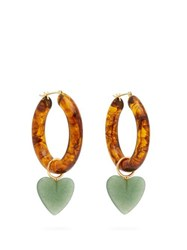 Lizzie Fortunato La Playa Resin And Quartz Hoop Earrings Brown