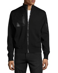 Ralph Lauren Full Zip Jacket With Leather Trim Black Men's