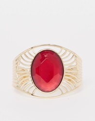 New Look 70S Stone Cuff Bracelet Red