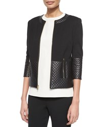 St. John Quilted Leather Combo Jacket