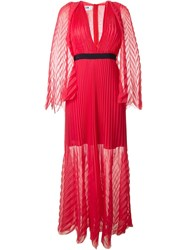 Msgm Tulle Multi Pleats Contrast Waist Maxi Dress Red