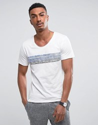 Selected Homme T Shirt With Scoop Neck And Graphic White