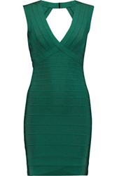 Herve Leger Cutout Bandage Mini Dress Forest Green
