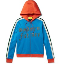 Gucci Embroidered And Appliqued Jersey Zip Up Hoodie Blue