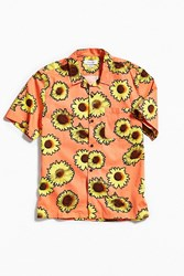 Urban Outfitters Uo Sunflower Short Sleeve Button Down Shirt Orange