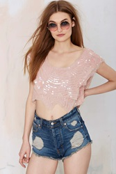 Nasty Gal Raga Sweet Nostalgia Sequin Crop Top