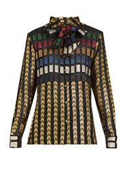 Dodo Bar Or Marion Neck Tie Fil Coupe Blouse Gold Multi