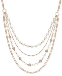 Charter Club Rose Gold Tone Imitation Pearl And Crystal Fireball Multi Layer Necklace Only At Macy's