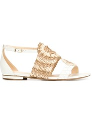 Alexandre Birman Crochet Flat Sandals White