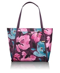Tumi Voyageur Leather Trimmed Nylon Floral Q Tote Pink Floral