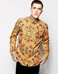 Hype X Noose And Monkey Shirt With Fruit Ruby Print In Skinny Fit Goldruby