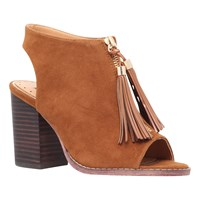 Miss Kg Saana Block Heeled Peep Toe Sandals Tan Suedette