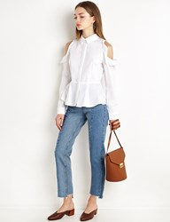 Pixie Market Circle Shoulder Cut Out White Peplum Shirt