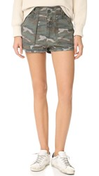 Free People High Waisted Military Shorts Green Combo