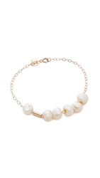 Ginette_Ny Cultured Freshwater Pearl And Tube Bracelet Pearl Rose Gold