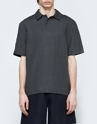 Margaret Howell Woven Polo Shirt Charcoal
