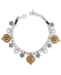 Lucky Brand Two Tone Spade Floral Beaded Leather Bracelet Two Tone