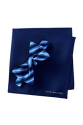 Tommy Hilfiger Silk Stripe Bow Tie And Pocket Square Set Blue