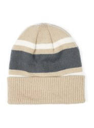 Topman Multi Camel Cream And Grey Colour Block Beanie Hat
