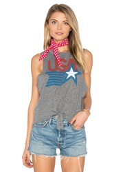 Chaser Usa Tie Front Muscle Tee Gray