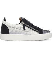 Giuseppe Zanotti Snake Print Leather Low Top Trainers Silver Com