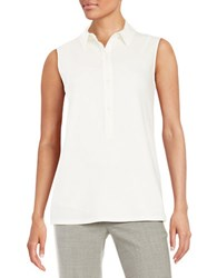 Dkny Sleeveless Collared Blouse Soft White
