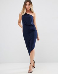 Jessica Wright One Shoulder Pencil Dress With Gold Clasp Navy
