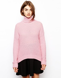 Bzr Roll Neck Jumper With Dipped Hem Pink