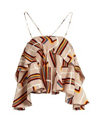 Rachel Comey Rainbow Block Print Silk Cropped Top Multi