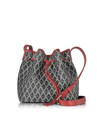 Lancaster Paris Ikon Black And Red Coated Canvas And Leather Small Bucket Bag